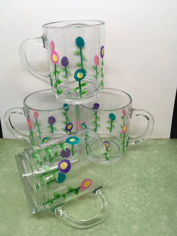 Mugs Clear Glass Hand Painted Spring Flower SMALL  Pink Aqua Purple HAPPY DOT Flowers SET of FOUR