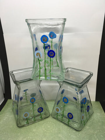 Vases Blue Floral Small Hand Painted Middle One Different is FREE Set of Two