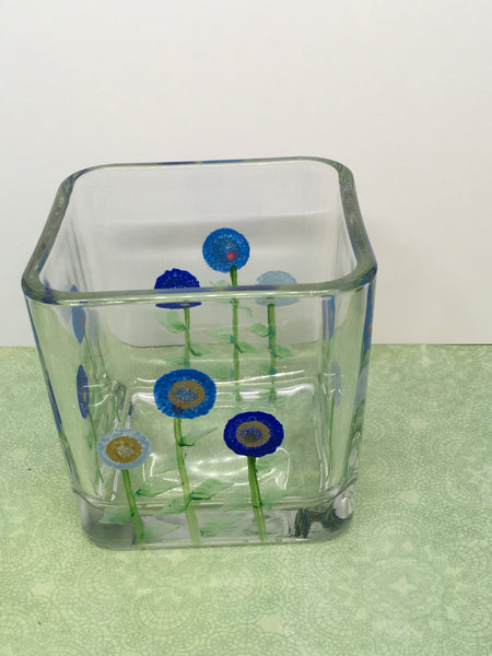 Square Floral Vase Container Small Clear Glass Hand Painted in blues One of a Kind Unique Home Decor Table Decor Gift Storage Cottage Chic Country JAMsCraftCloset