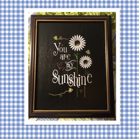 YOU ARE MY SUNSHINE Framed Wall Art Hand Painted Floral and Bee Accents Home Decor Gift One of a Kind-Unique-Home-Country-Decor-Cottage Chic-Gift Kitchen Decor - JAMsCraftCloset