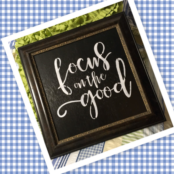 FOCUS ON THE GOOD Vintage Framed Wall Art Home Decor Gift Idea Farmhouse Decor