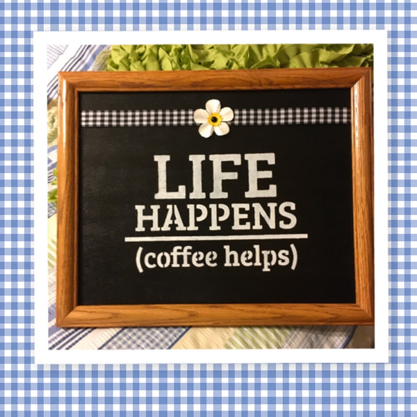 LIFE HAPPENS COFFEE HELPS Vintage Wood Framed Wall Art Hand Painted Buffalo Print Ribbon Floral Accent Home Decor Gift Kitchen Decor Farmhouse Decor One of a Kind-Unique-Home-Country-Decor-Cottage Chic-Gift Kitchen Decor - JAMsCraftCloset