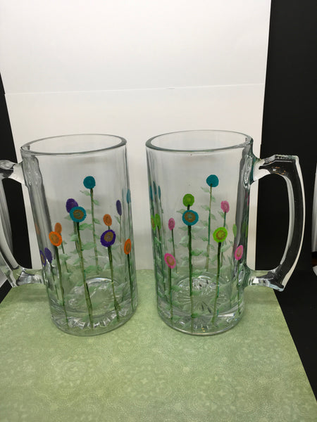 Mug Beer Glass Floral Hand Painted Clear Pink Auqa Green and Purple Orange Aqua Flowers - JAMsCraftCloset