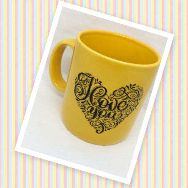 Mug Cup Yellow I LOVE YOU Hand Painted Home Kitchen Decor Drinkware - JAMsCraftCloset