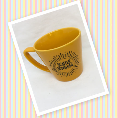 Mug Cup Yellow SCATTER SUNSHINE Hand Painted Home Kitchen Decor Drinkware-Great Gift Idea-Home Decor-Unique-One of a Kind - JAMsCraftCloset