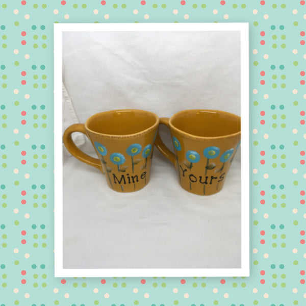 Mugs Coffee Hand Painted MINE YOURS HAPPY DOT Floral Design Yellow Mug Aqua Flowers SET of 2 Great Gift Idea Kitchen Decor - JAMsCraftCloset
