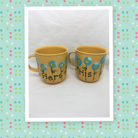 Mugs Coffee Hand Painted HIS HERS HAPPY DOT Floral Design Yellow Mug Aqua Flowers SET of 2 Great Gift Idea Kitchen Decor - JAMsCraftCloset