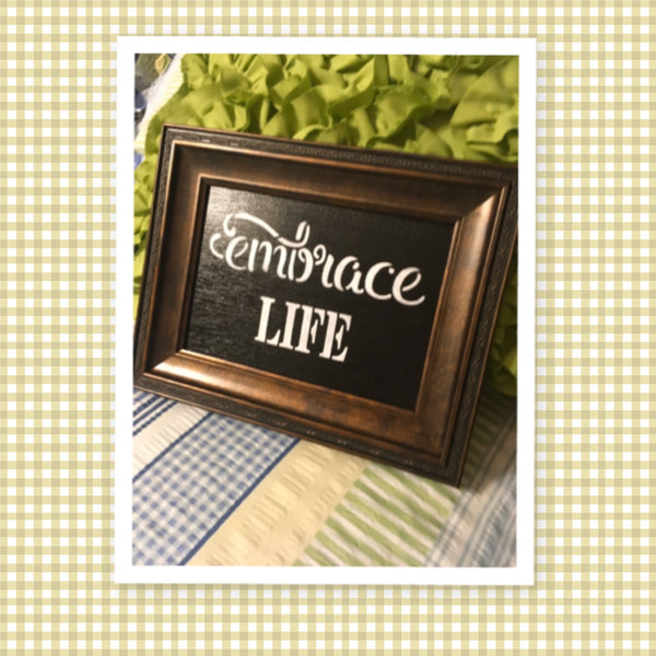 EMBRACE LIFE Vintage Wood Frame Positive Saying Wall Art Home Decor Gift Idea Wedding One of a Kind-Unique-Home-Country-Decor-Cottage Chic-Gift - JAMsCraftCloset