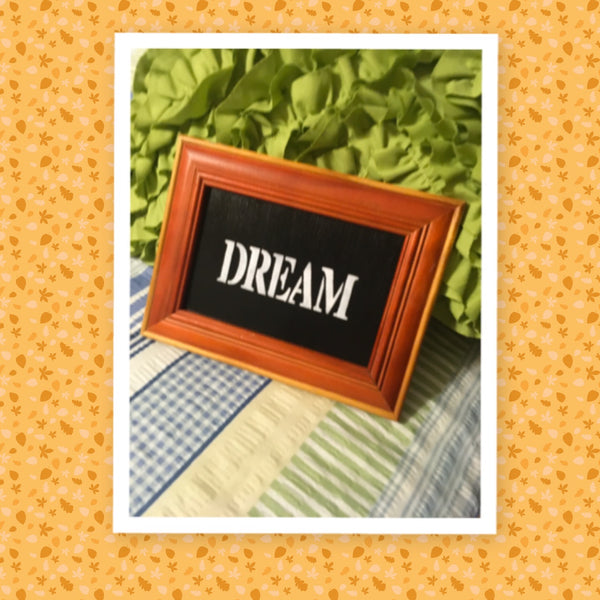 DREAM Vintage Wood Rust and Tan Frame Positive Saying Wall Art Home Decor Gift Idea Wedding One of a Kind-Unique-Home-Country-Decor-Cottage Chic-Gift - JAMsCraftCloset