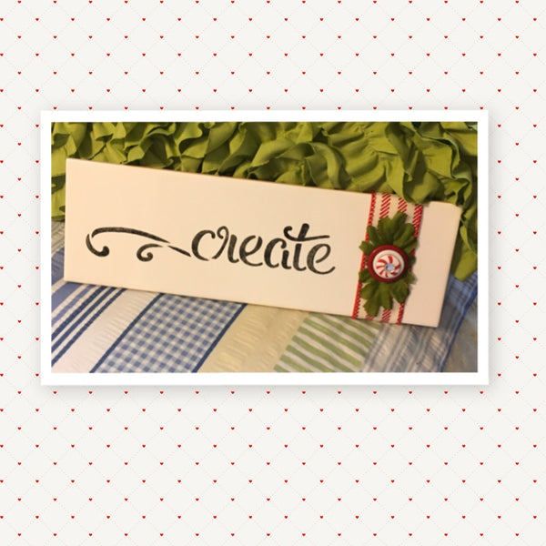 Tile Sign CREATE Positive Saying With Button Floral Accents Wall Art Gift Idea Home Country Decor Affirmation - JAMsCraftCloset