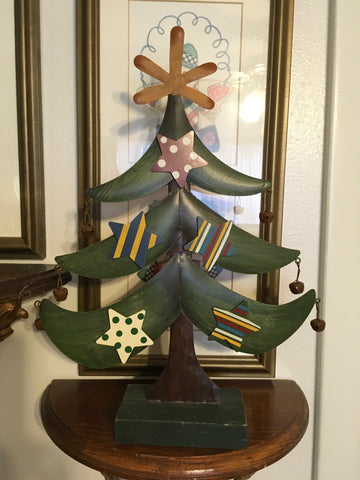 Tree Metal Holiday Christmas Handmade Vintage With Wooden Base Star and Bell Ornaments