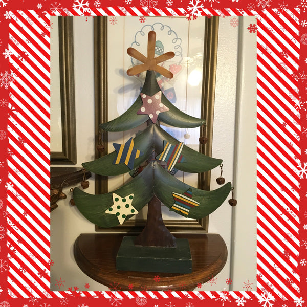 Tree Metal Holiday Christmas Handmade Vintage With Wooden Base Star and Bell Ornaments JAMsCraftCloset