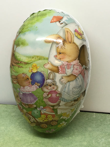 Easter Egg Cardboard Paper Mache 7 Inches Long Storage Shelf Sitter Momma and Playing Children c. 1970s