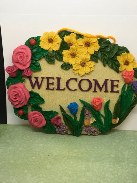 Welcome Plaque Sign Floral Roses and Tulips Hand Painted Polyresin Gift Idea JAMsCraftCloset