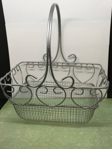 Basket Vintage Wire Heart Accents Silver Tone Rectangle Easter Storage - JAMsCraftCloset