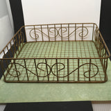 Basket Square Wire No Handles Storage Vintage Collectible - JAMsCraftCloset