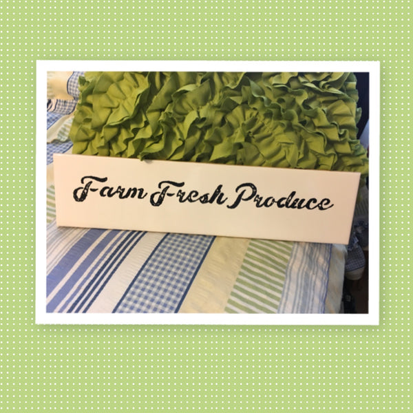 FARM FRESH PRODUCE White Ceramic Tile Sign Country Farmhouse Wall Art Gift Campers RV Home Decor-Wall Art-Gift-One of a Kind - JAMsCraftCloset