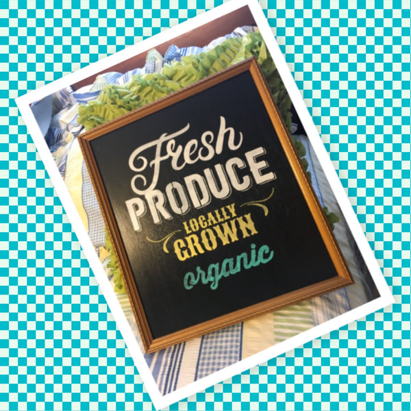 FRESH PRODUCE LOCALLY GROWN ORGANIC Vintage Framed Wall Art Hand Painted With Carrots Home Decor Gift-One of a Kind-Unique-Home-Country-Decor-Cottage Chic-Gift Kitchen Decor - JAMsCraftCloset