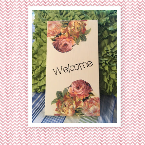 WELCOME Wooden Sign Wall Art Hand Painted Cream Light Ivory Decoupaged Floral Accents Affirmation Home Decor Gift -One of a Kind-Unique-Home-Country-Decor-Cottage Chic-Gift - JAMsCraftCloset