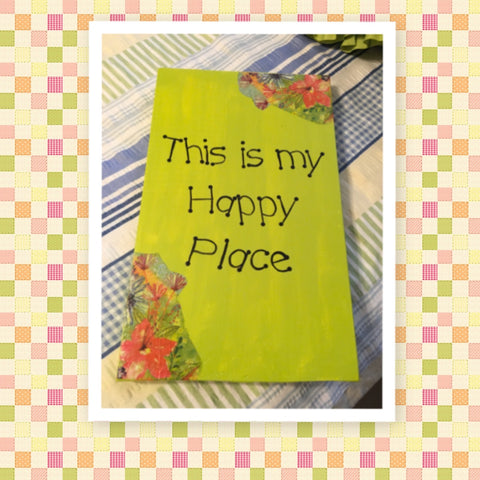 THIS IS MY HAPPY PLACE Wooden Sign Wall Art Hand Painted Citrus Green Decoupaged Florals Affirmation Gift Idea Home Decor -One of a Kind-Unique-Home-Country-Decor-Cottage Chic-Gift - arts and collectibles - home and living - wedding gift - wall decor - home sign- house plaque - kitchen - inspirational - fixer upper decor -kitchen sign - funny kitchen sign - JAMsCraftCloset