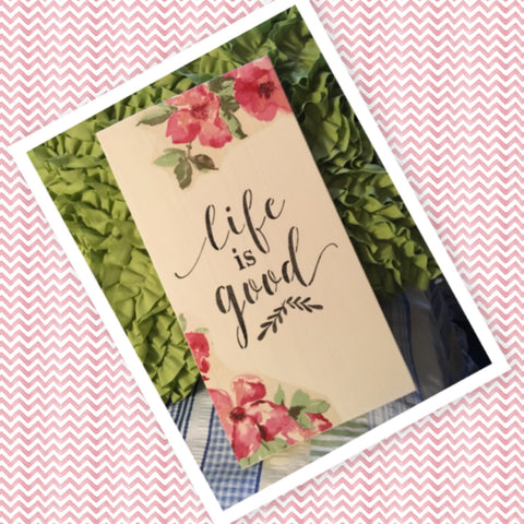 LIFE IS GOOD Wooden Sign Wall Art Hand Painted Decoupaged Red Floral Affirmation Gift Idea Floral Accents Home Decor Gift -One of a Kind-Unique-Home-Country-Decor-Cottage Chic-Gift - arts and collectibles - home and living - house warming gift - wall decor - sign for nursery - nursery decor - baby room decor - fixer upper decor - JAMsCraftCloset