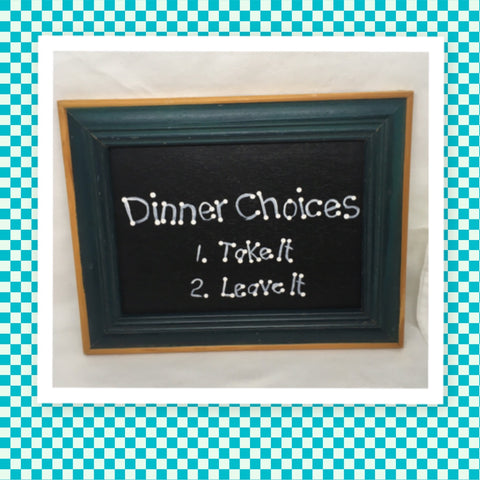 DINNER CHOICES TAKE IT OR LEAVE IT Vintage White Gold Frame Positive Saying Wall Art Home Decor Gift Idea Wedding One of a Kind-Unique-Home-Country-Decor-Cottage Chic-Gift- Kitchen Decor - Kitchen Wall Art - JAMsCraftCloset