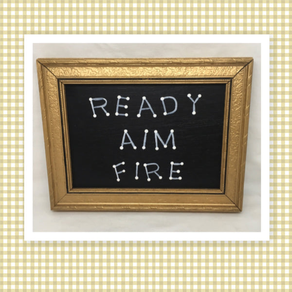 READY AIM FIRE Vintage White Gold Wood Frame Positive Saying Wall Art Gift Idea Bathroom Decor One of a Kind-Unique-Home-Country-Decor-Cottage Chic-Gift- Bathroom Wall Art - Bathroom Humor Sign - JAMsCraftCloset