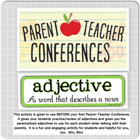 Adjective Practice BEFORE Parent-Teacher Conferences PowerPoint Lesson Fun and Engaging Teacher Resource - JAMsCraftCloset