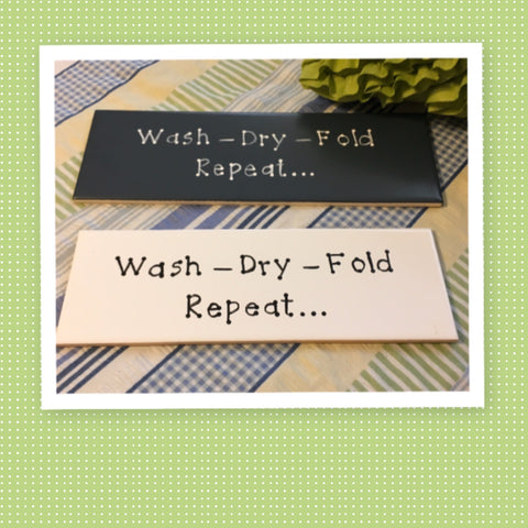 WASH DRY FOLD REPEAT Tile Sign Funny LAUNDRY Room Decor Wall Art Home Decor Gift Idea Handmade Sign Hand Painted Sign Country Farmhouse Wall Art Gift Campers RV Home Decor-Gift Home and Living Wall Hanging - JAMsCraftCloset