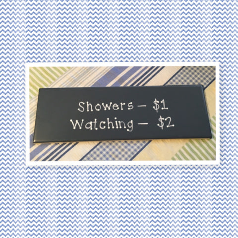 SHOWERS $1 WATCHING $2 Blue Ceramic Tile Sign Funny BATHROOM Decor Wall Art Home Decor Gift Idea Handmade Sign Hand Painted Sign Country Farmhouse Wall Art Gift Campers RV Home Decor-Gift Home and Living Wall Hanging