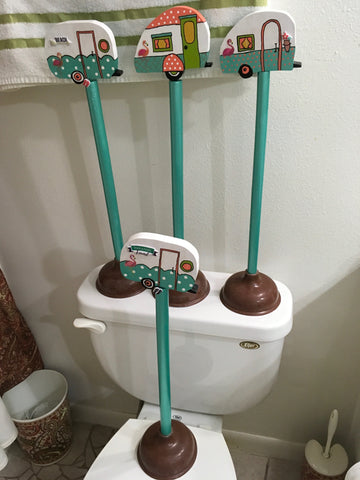 Plunger Upcycled Retro Camper Aqua Peach Bathroom Decor Handmade Hand Painted