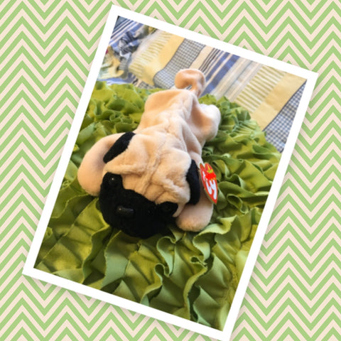 TY BEANIE BABY Pugsly the Pug Birthdate May 2 1996 Collectible Gift Idea  TY Original Beanie Baby  Collection Condition is new clean great  RARE tag ERROR a typo an added space between the punctuation end of the poem - JAMsCraftCloset