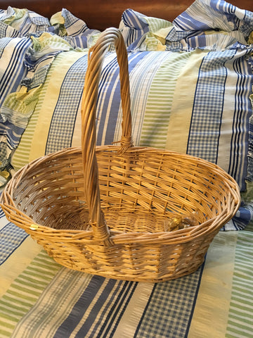Basket Gathering OVAL Vintage Natural Woven Home Decor Storage Gift Idea - JAMsCraftCloset