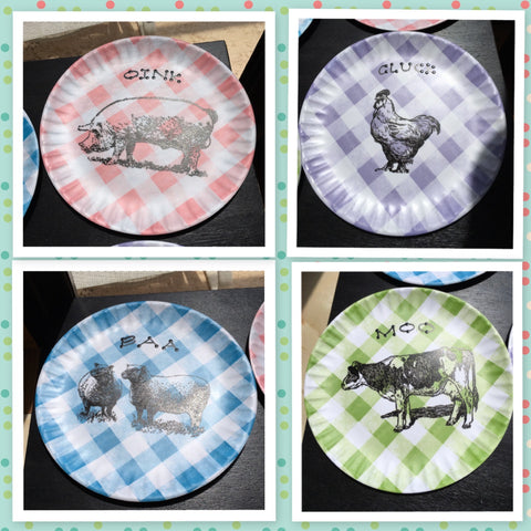 Plates Hand Painted Country Animals Hen Pig Cow Lambs Gingham Checked Melamine Kitchen Decor Set of 4 Wall Art Gift Idea - JAMsCraftCloset