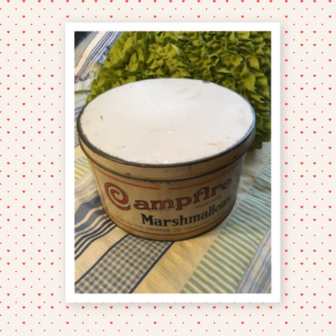 Tin Vintage Campfire WHITE Marshmallows 5 Lbs Advertising Tin Collector Tin c. 1930 Made By THE CAMPFIRE COMPANY in Milwaukee U.S.A. - REG. U. S. PAT. OFF. - WHITE -JAMsCraftCloset