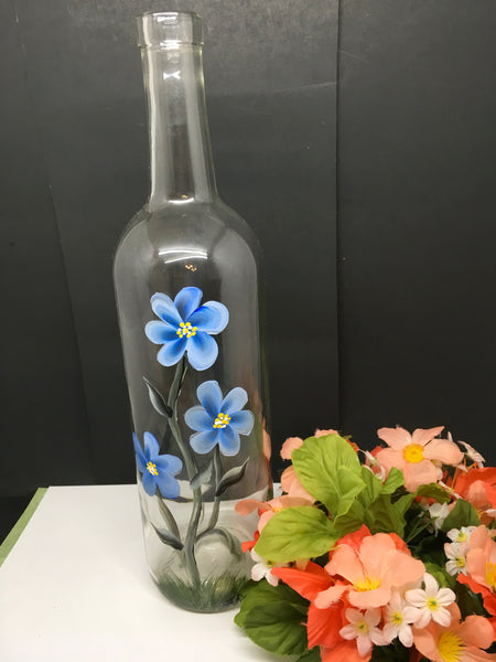 Bottles Hand Painted Vintage White Daisies Blue Flowers Wedding Table Decor - JAMsCraftCloset