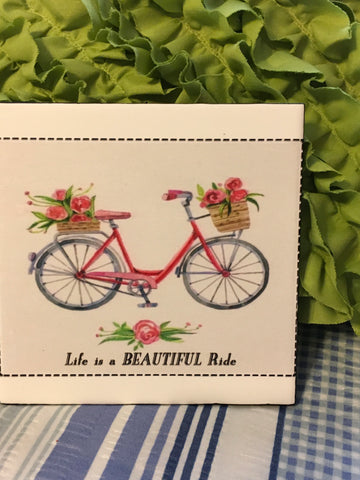Vintage Bicycle Wall Art LIFE IS A BEAUTIFUL RIDE Ceramic Tile Decoupaged Sign HOME Decor Gift Idea Handmade Sign Hand Painted Sign Country Farmhouse Wall Art Gift Campers RV Home Decor-Gift Home and Living Wall Hanging - JAMsCraftCloset