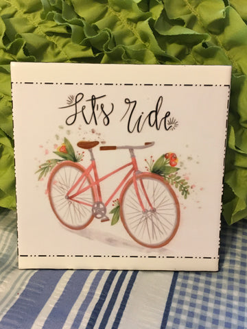 Vintage Bicycle Wall Art LET'S RIDE Ceramic Tile Decoupaged Sign HOME Decor Gift Idea Handmade Sign Hand Painted Sign Country Farmhouse Wall Art Gift Campers RV Home Decor-Gift Home and Living Wall Hanging - JAMsCraftCloset