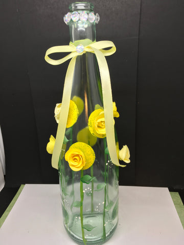 Bottle Pale Green Glass Hand Painted Yellow Floral Flowers Bling Flowers Ribbon Wedding Centerpiece - JAMsCraftCloset