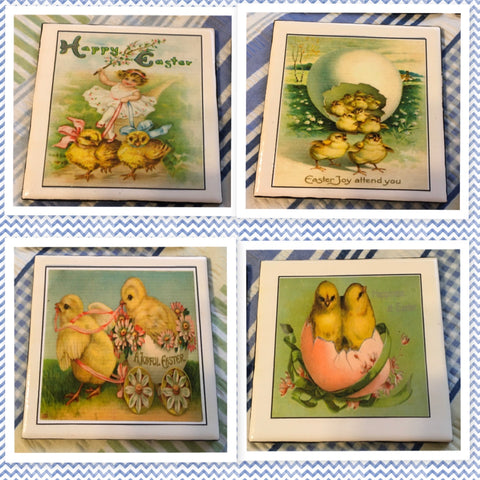 Ceramic Tile EASTER CHICKS Wall Art Handmade Upcycled Repurposed Gift Home Decor SET OF 4 - JAMsCraftCloset