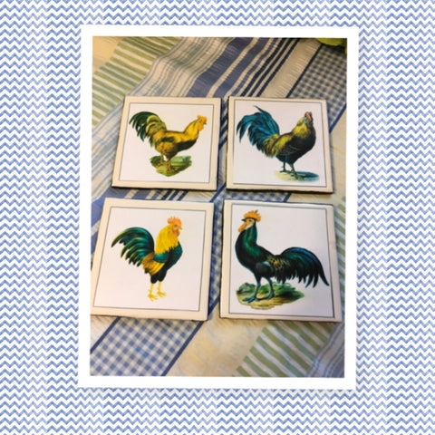 Ceramic Tile Vintage ROOSTER Kitchen Wall Art Handmade Upcycled Repurposed Gift Home Decor SET OF 4 - JAMsCraftCloset