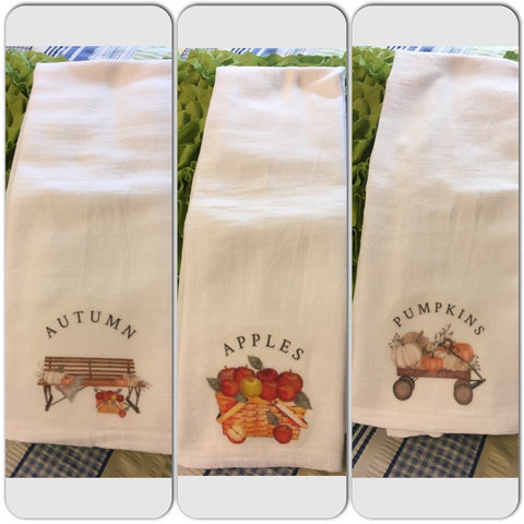 AUTUMN APPLES PUMPKINS Flour Sack Tea Towels Kitchen Decor Gift Handmade Chef Wedding - JAMsCraftCloset