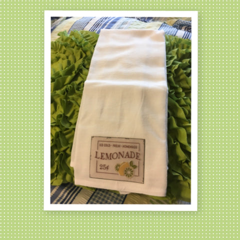 LEMONADE 25 CENTS Flour Sack Tea Towels Kitchen Decor Gift Idea Handmade Chef Gift Housewarming Gift Wedding Gift - JAMsCraftCloset