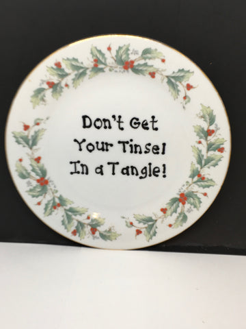 Plate Hand Painted Upcycled Repurposed Positive Saying TINSEL IN TANGLE Plate Christmas Wall Art