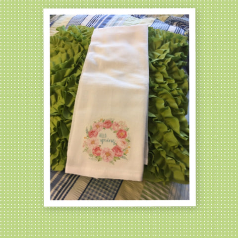 HELLO SPRING Peonies Flour Sack Tea Towels Kitchen Decor Gift Idea Handmade Chef Gift Housewarming Gift Wedding Gift - JAMsCraftCloset