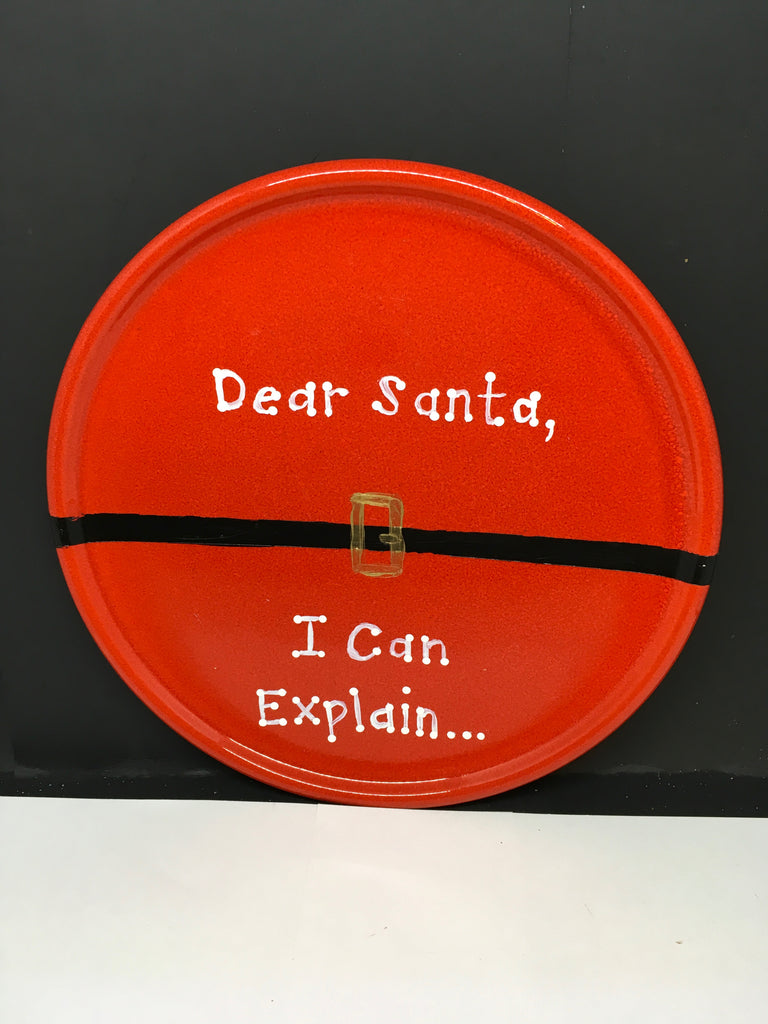 Plate Hand Painted Upcycled Positive Saying DEAR SANTA I CAN EXPLAIN Plate Christmas Wall Art