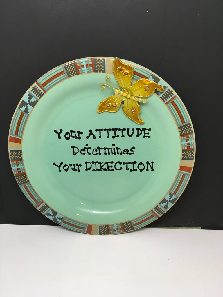 Plate Hand Painted Upcycled Repurposed Positive Saying YOUR ATTITUDE Wall Art