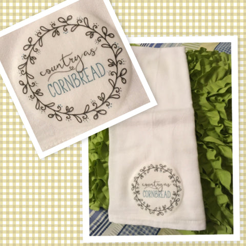 COUNTRY AS CORNBREAD Flour Sack Tea Towels Kitchen Decor Gift Idea Handmade Chef Gift Housewarming Gift Wedding Gift - JAMsCraftCloset