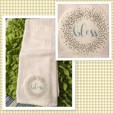 BLESS WREATH Flour Sack Tea Towels Kitchen Decor Gift Idea Handmade Chef Gift Housewarming Gift Wedding Gift - JAMsCraftCloset