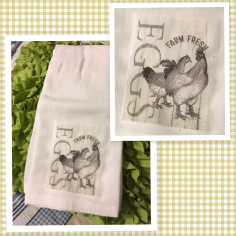 FARM FRESH EGGS Flour Sack Tea Towels Kitchen Decor Gift Idea Handmade Chef Gift Housewarming Gift Wedding Gift - JAMsCraftCloset